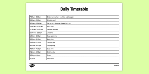 Childminder Daily Timetable - childminder, daily timetable, daily, timetable