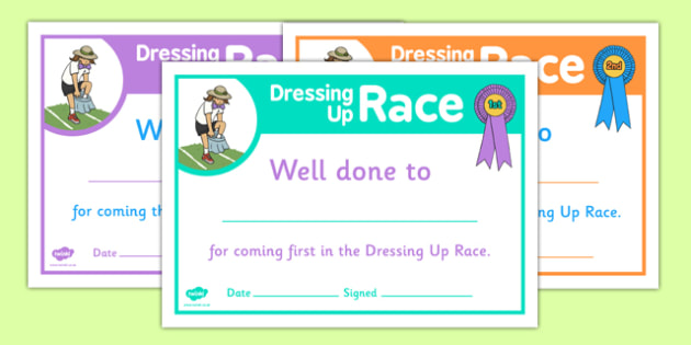 Sports Day Dressing Up Race Certificates - sports day, certificates
