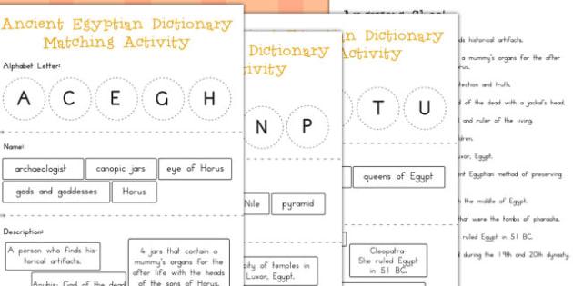 Ancient Egypt Dictionary Matching Activity - australia, egypt
