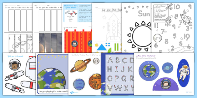 Space Themed Fine Motor Skills - Worksheets, Activities, Games