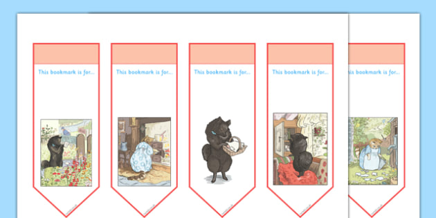 Beatrix Potter - The Tale of the Pie and the Patty Pan Editable Bookmarks - beatrix potter, pie, patty pan, editable, bookmarks