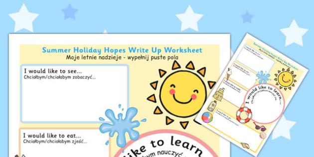 Summer Holiday Hopes Write Up Worksheet Polish Translation - polish
