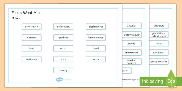 OCR Gateway Physics Forces Word Mat - Word Mat, gcse, keywords, force, forces, newton, Motion, newton's laws, momentum, forces in action