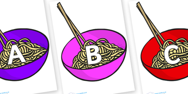 A-Z Alphabet on Chinese Noodles - A-Z, A4, display, Alphabet frieze, Display letters, Letter posters, A-Z letters, Alphabet flashcards