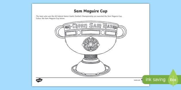 Sam Maguire Cup Colouring Activity Sheet-Irish, worksheet