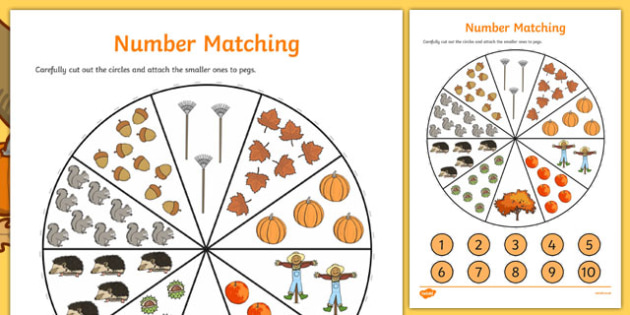 Number Matching Pegs Autumn Themed - autumn, matching, pegs, seasons, september, october, numbers, maths, numeracy