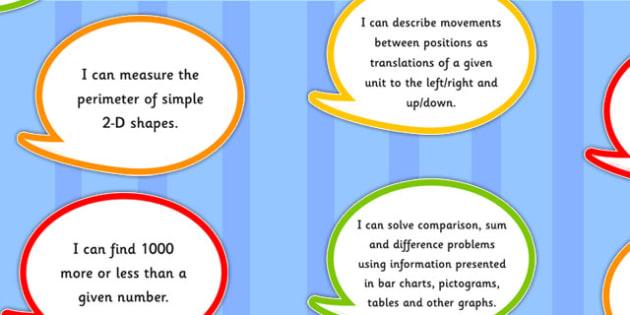 2014 Curriculum Year 4 Maths Assessment I Can Speech Bubbles