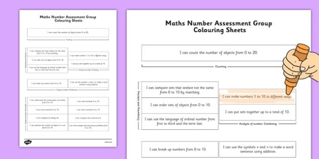 1999 Curriculum Senior Infants Maths Number Assessment Group Colouring Sheet - roi, irish, gaeilge, assessment checklist, maths, senior infants, number