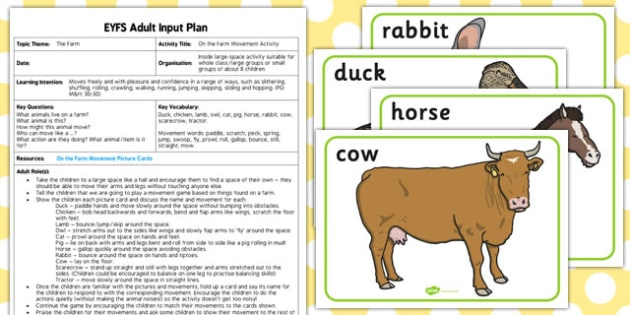 On the Farm Movement Activity EYFS Adult Input Plan Resource Pack