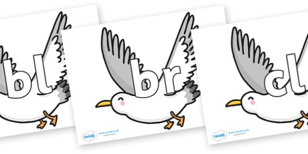 Initial Letter Blends on Seagulls - Initial Letters, initial letter, letter blend, letter blends, consonant, consonants, digraph, trigraph, literacy, alphabet, letters, foundation stage literacy