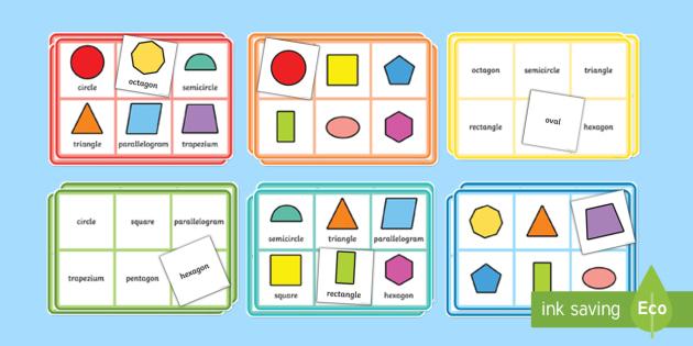 2D Shape Properties Bingo