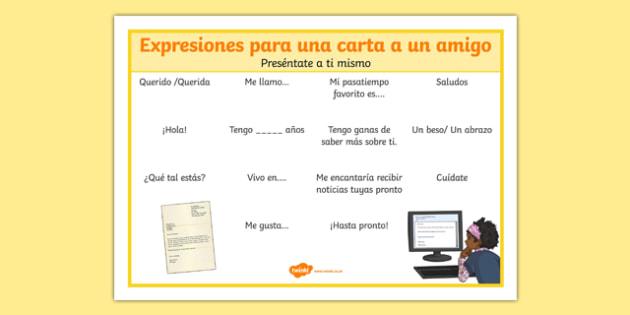 Hoja de vocabulario: Expresiones para una carta a un amigo - spanish, letter, carta, expressions, word mat, writing