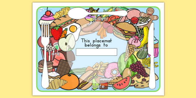 Food Themed Placemats - food, place mat, eating, healthy eating