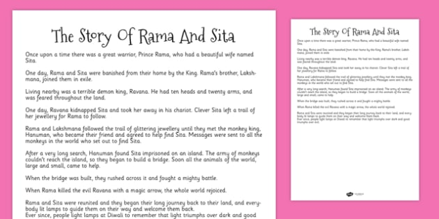 The Story of Rama and Sita Print Outs - stories, story cards