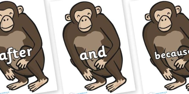 Connectives on Chimps - Connectives, VCOP, connective resources, connectives display words, connective displays