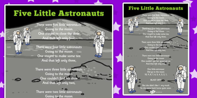 Five Little Astronauts Counting Song Sheet - singing, songs