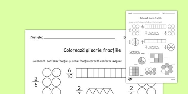 Colorează și scrie fracția - Fișă de lucru