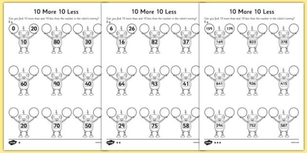 10 More 10 Less Robots Activity Sheet - activity, robot, numbers, worksheet
