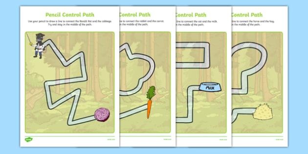 Bandit Rat Themed Pencil Control Path Activity Sheet Pack - highway rat, bandit rat, julia donaldson, pencil control path, worksheet