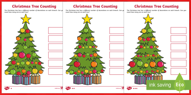 Christmas Tree Differentiated Counting Activity Sheet