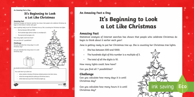 It's Beginning to Look a Lot Like Christmas Activity Sheet