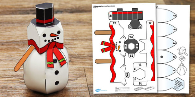 3D Balancing Snowman Paper Model - 3d, balancing, snowman, paper, model, craft, winter, christmas