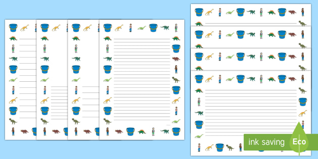 Page Borders to Support Teaching on Harry and the Bucketful of Dinosaurs - borders