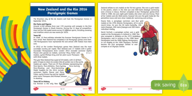 Rio 2016 and the NZ Paralympics Team Fact File