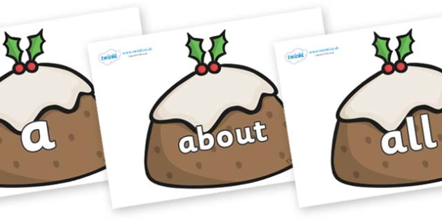 100 High Frequency Words on Christmas Puddings - High frequency words, hfw, DfES Letters and Sounds, Letters and Sounds, display words