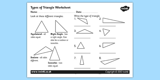 Types of Triangle Worksheet - triangles, shapes, types of triangles, triangle worksheet, angles, triangle angles, triangle labelling worksheet, ks2 maths