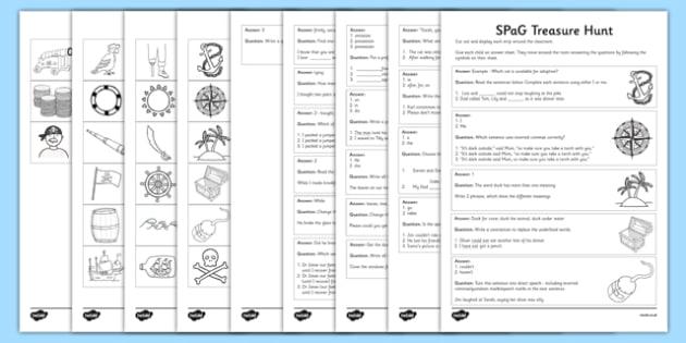 KS2 SPaG Treasure Hunt - spag, treasure hunt, spag assessment, treasure, hunt, spelling, punctuation, grammar