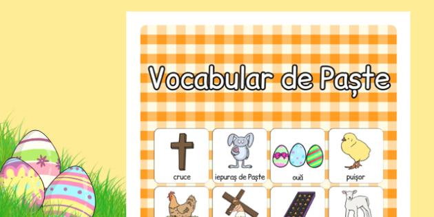 Pastele, Poster cu imagini si cuvinte, Romanian