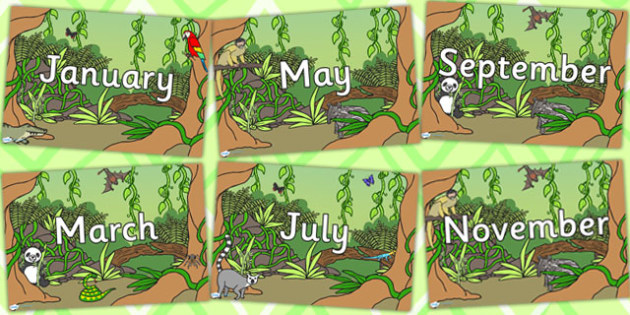 Jungle Themed Months of the Year Posters - animals, days, month