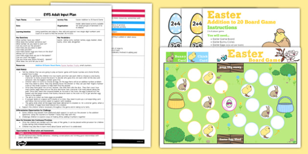 Easter Addition to 20 Board Game EYFS Adult Input Plan and Resource Pack - easter, addition, board game