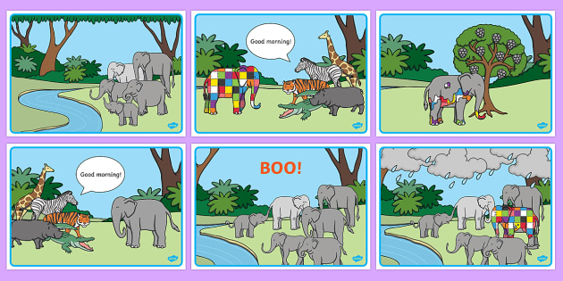 Story Sequencing to Support Teaching on Elmer - Elmer, Elmer the elephant, resources, Elmer story, patchwork elephant, PSHE, PSE, David McKee, colours, patterns, story, story book, story book resources, story sequencing, story resources, sequencing