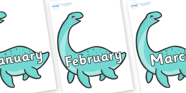 Months of the Year on Pleseosaur Dinosaurs - Months of the Year, Months poster, Months display, display, poster, frieze, Months, month, January, February, March, April, May, June, July, August, September