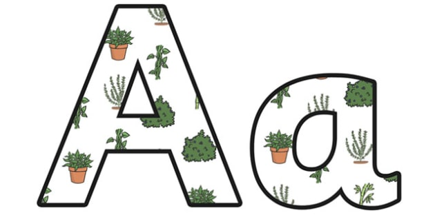 Green Plants Lowercase Display Lettering - green plants, green plants lettering, green plants display, green plants display letters, green plants ks2, ks2