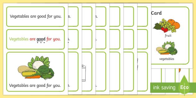 Keeping Healthy Simple Sentence Cards - Sentences, sentence cards, reading, phonics, eyfs, literacy
