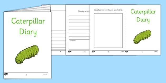 Caterpillars Diary Writing Frames - caterpillars, diary, writing frames, minibeast