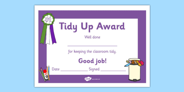 Tidy Up Award Certificate - tidy up award, certificates, reward, award, certificate, rewards, school reward
