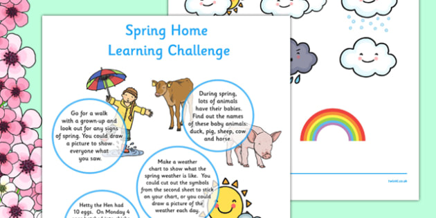 EYFS Spring Home Learning Challenge Sheet Reception FS2 - EYFS planning, early years activities, homework, seasons