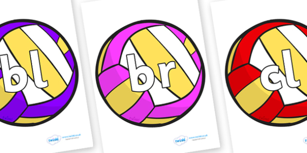 Initial Letter Blends on Volleyballs - Initial Letters, initial letter, letter blend, letter blends, consonant, consonants, digraph, trigraph, literacy, alphabet, letters, foundation stage literacy