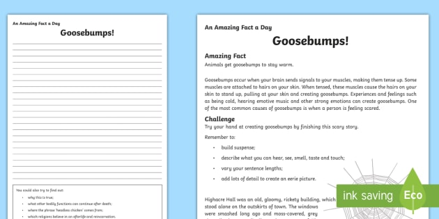 Goosebumps! Activity Sheet - Amazing Fact Of The Day, activity sheets, powerpoint, starter, morning activity, December, spooky st