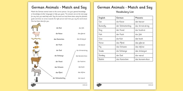 German Animals Match and Say Worksheet - german, animals, match, say, worksheet