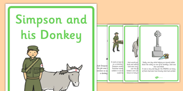 Simpson And His Donkey Posters - Simpson and His Donkey, donkey, posters, sign, display, Simpson, australian soldier, Jack, stretcher, wounded, soldiers, poem