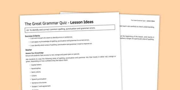 The Great Grammar Quiz Lesson Ideas - great grammar quiz, lesson, ideas