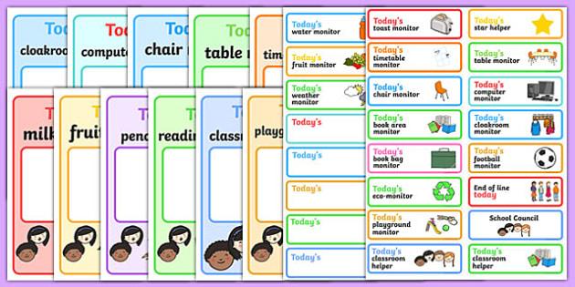Classroom Monitor Display Pack - classroom monitor, display pack, class, monitor, job, responsibility