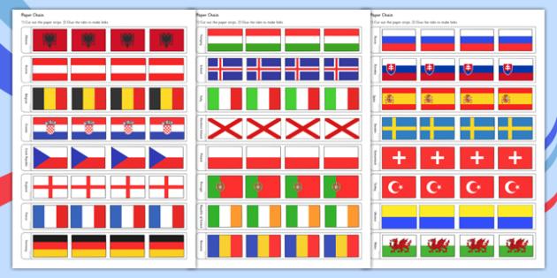 Euro 2016 Flag Paper Chain