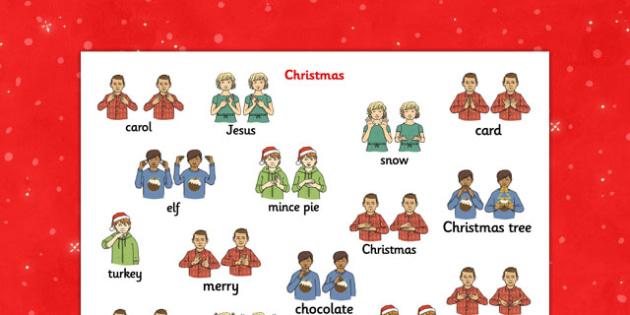 Christmas British Sign Language Mat - christmas, sign, language