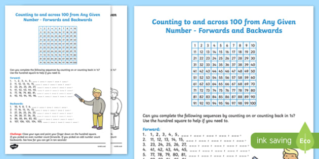 Counting To and Across 100 From Any Given Number Worksheet - counting